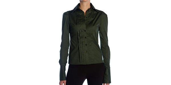 Dámska tmavo zelená košeľa s plisovaním Lora Gene