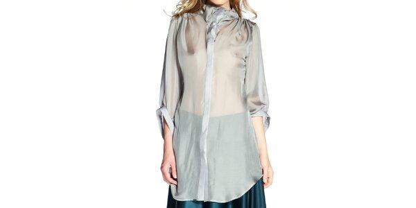 Dámska šedá hodvábna košeľa v predĺženej dĺžke Lora Gene