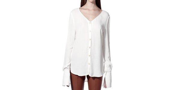 Dámska biela košeľa bez límčeku Lora Gene