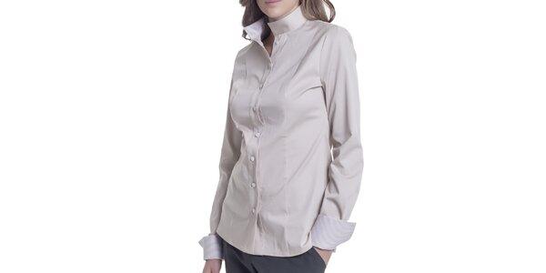 Dámska béžová košeľa s dlhým rukávom Lora Gene