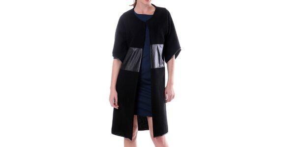 Dámsky čierny vlnený kabát s koženými prvkami Lora Gene
