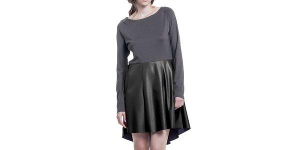 Dámske šedé šaty s čiernou sukňou z eko kože Lora Gene
