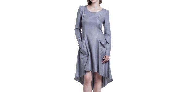 Dámske šedé šaty s dlhým rukávom Lora Gene