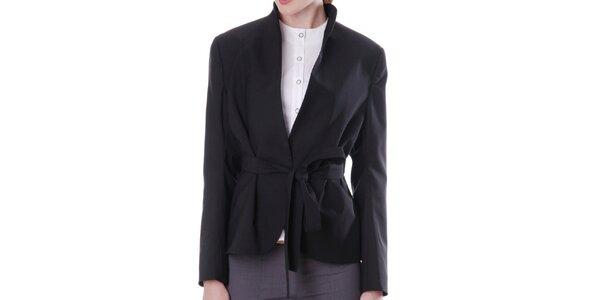 Dámske čierne sako so zaväzovaním Lora Gene