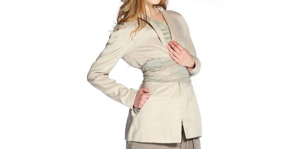 Dámske hodvábne sako v béžovej farbe Lora Gene