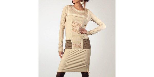 Dámske béžové šaty s dekoratívnymi prvkami Angels Never Die