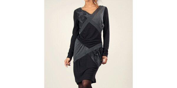 Dámske šedo-čierne šaty s dlhým rukávom Angels Never Die