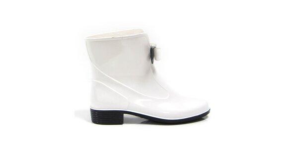 Dámske biele kotníkové topánky s čierno-bielou mašličkou Favolla