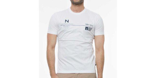 Pánske biele tričko s potlačou Nautica