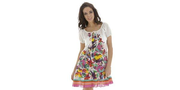 Dámske biele šaty s kvetinovým vzorom Kool