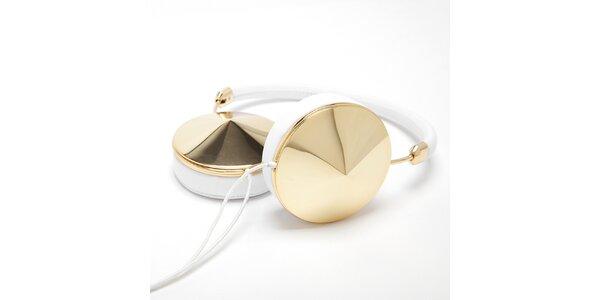 Sluchátka v bielej farbe so zlatými prvkami Frends