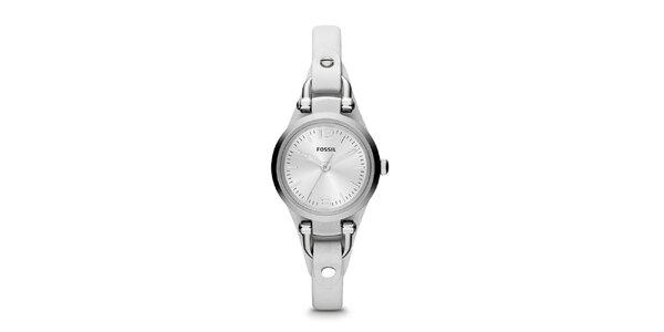 Dámske hodinky s bielym remienkom Fossil