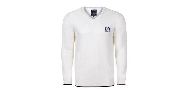 Pánsky biely sveter s kontrastnými lakťami Giorgio di Mare