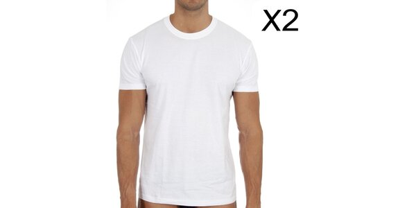 Dve pánske biele tričká DIM