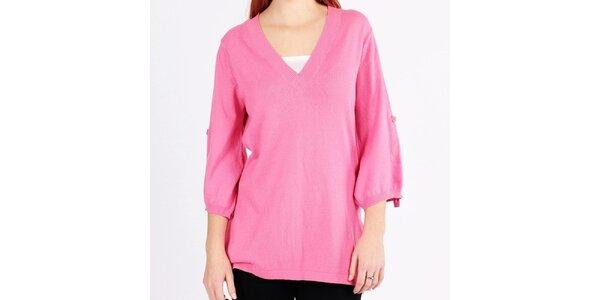 Dámsky ružový svetrík s véčkovým výstrihom Emma Pernelle