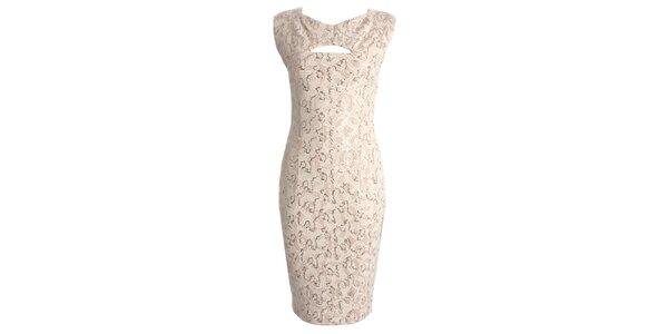 Dámske béžové šaty s prestrihom CeMe London