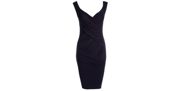 Dámske tmavo modré šaty so zavinovacím efektom CeMe London