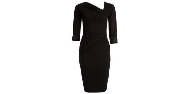Dámske čierne šaty s asymetrickým výstrihom CeMe London
