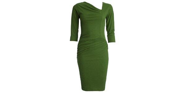 Dámske zelené šaty s asymetrickým výstrihom CeMe London