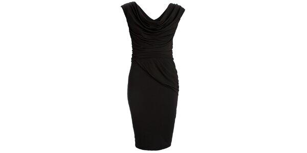 Dámske čierne šaty s vodovým výstrihom CeMe London