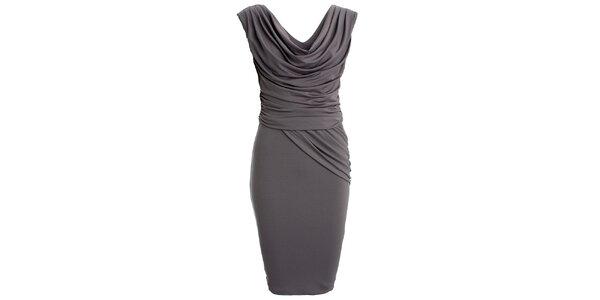Dámske šedé šaty s vodovým výstrihom CeMe London