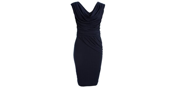 Dámske tmavo modré šaty s vodovým výstrihom CeMe London