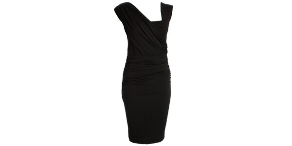 dc67e97e6222 Dámske čierne šaty s asymetrickým výstrihom CeMe London