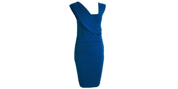Dámske kobaltovo modré šaty s asymetrickým výstrihom CeMe London
