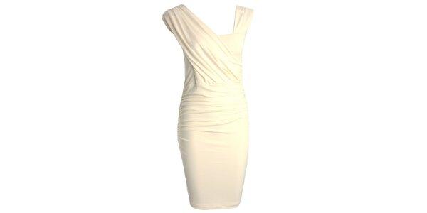 Dámske krémové šaty s asymetrickým výstrihom CeMe London