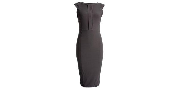a46773203b1e Dámske šedé púzdrové šaty s vykrojeným chrbátom CeMeLondon