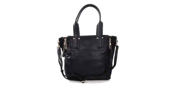 Dámska čierna kabelka s okrasnými zipsami Bessie
