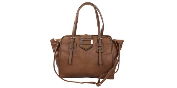 Dámska hnedá kabelka s kovovou ozdobou Bessie