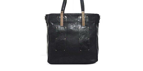 Dámska čierna kabelka s kovovými prvkami Bessie