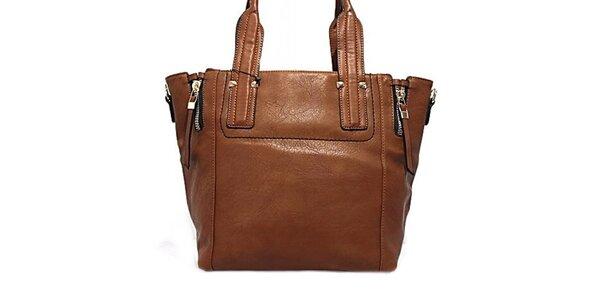 Dámska hnedá kabelka s okrasnými zipsami Bessie