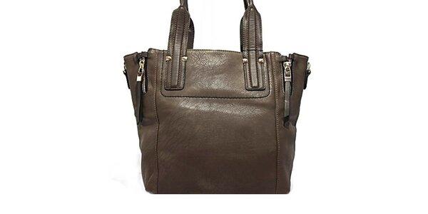 Dámska tmavá kabelka s okrasnými zipy Bessie