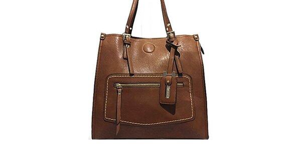 Dámska hnedá kabelka so zipsovým vreckom Bessie