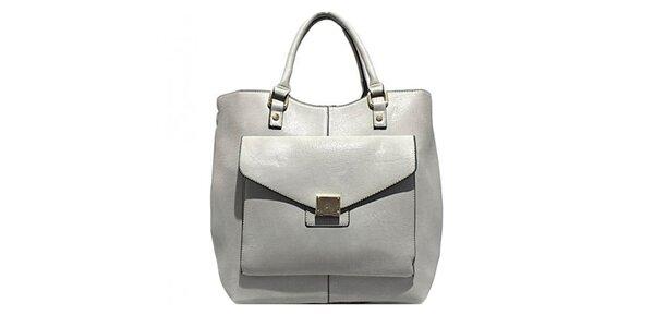 Dámska šedá kabelka s okrasným vreckom Bessie