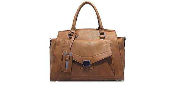 Dámska hnedá kabelka s vonkajším vreckom Bessie