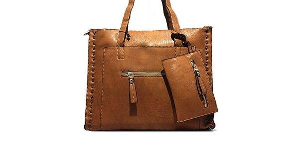Dámska hnedá kabelka s prešívaním Bessie