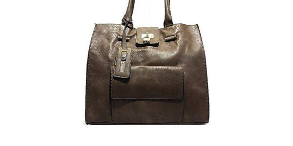 Dámska šedá kabelka so zlatým zámčekom Bessie