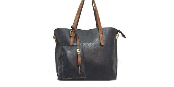 Dámska tmavo modrá kabelka s hnedými pútkami Bessie