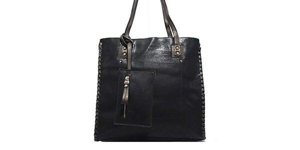 Dámska čierna kabelka s ozdobným prešívaním Bessie