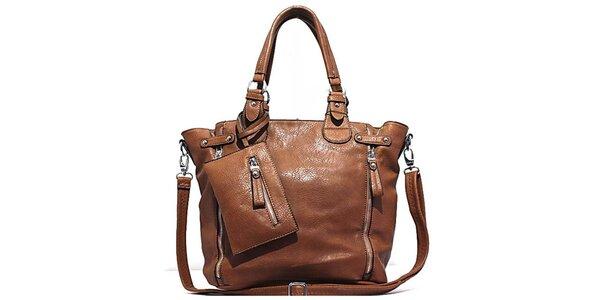 Dámska hnedá kabelka s vreckom Bessie