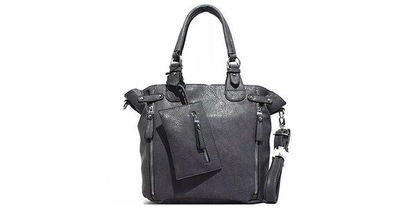 Dámska šedá kabelka s vreckom Bessie