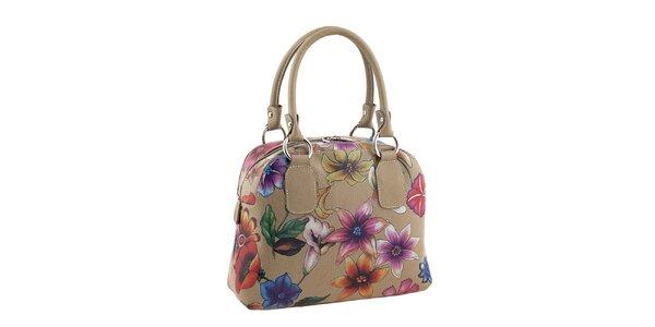 Dámska kožená kabelka s kvetovanou potlačou Valentina Italy