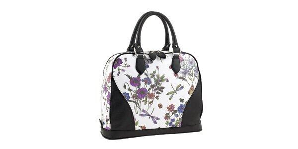Dámska bielo-čierna kabelka s kvetinovou potlačou Valentina Italy