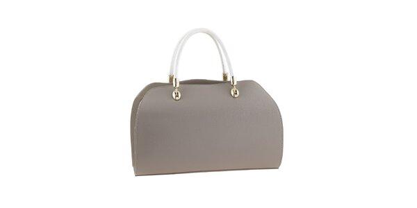 Dámska béžovo-biela kabelka s kovovými prvkami Valentina Italy