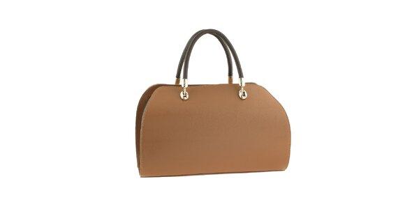 Dámska svetlo hnedá kabelka s kovovými prvkami Valentina Italy