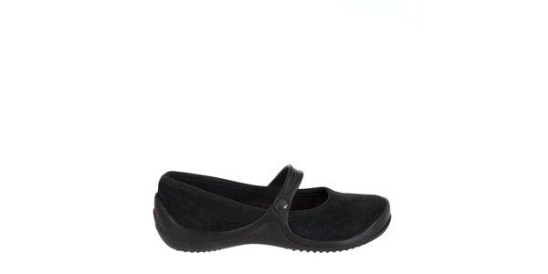Dámske čierne kožené baleríny Crocs