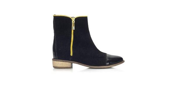 Dámske čierne topánky s dvomi zipsami Joana and Paola